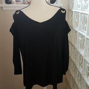 Nine West Cold Shoulder Top, Black, Size XL